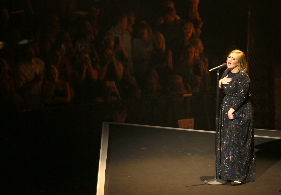 ST PAUL, MN - JULY 05: Singer Adele performs during the opening night of her North American concert tour at the Xcel Energy Center on July 5, 2016 in St Paul, Minnesota. (Photo by Adam Bettcher/Getty Images for BT PR)